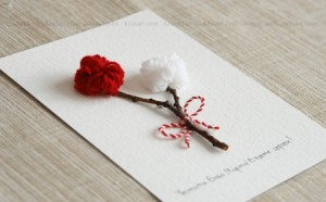 Tarjeta de flores de lana