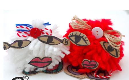 Personajes con pompones de lana