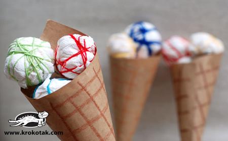 Conos de helado con lana